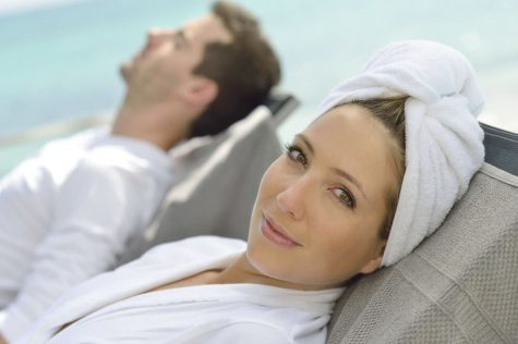 spa couple lady smiling pool